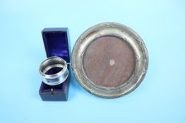 Hallmarked silver photo frame and boxed hallmarked silver napkin ring