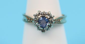 Gold heart shaped sapphire & diamond ring