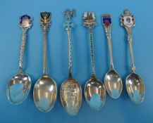 Collection of silver enamelled teaspoons
