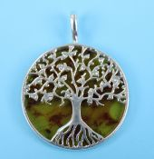 Silver and amber tree of life pendant