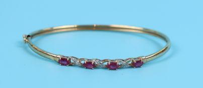 Gold ruby & diamond bangle