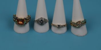 4 costume jewellery rings - 1 marked .925