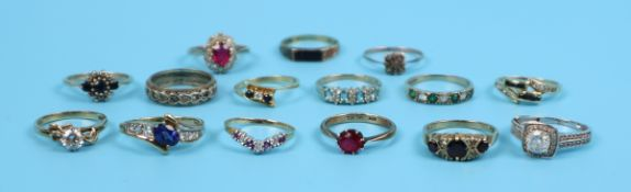 15 gold gem set rings