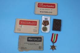 2 medals, card case and 3 postcard books