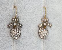 Pair of pearl & diamond heart shaped earrings