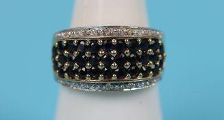 Gold sapphire & diamond ring