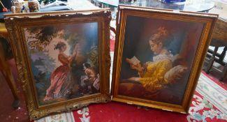 2 tapestries in gilt frames