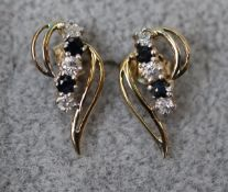 Pair of gold & sapphire earrings