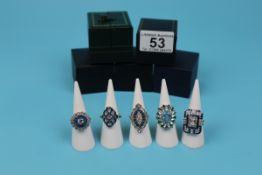 5 Art Deco style costume rings in boxes