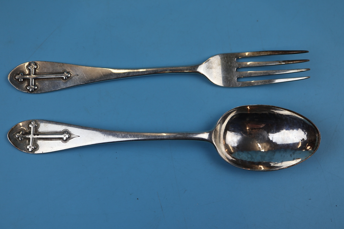 Collection of white metal & silver to include early Victorian spoon and fork - Image 5 of 11