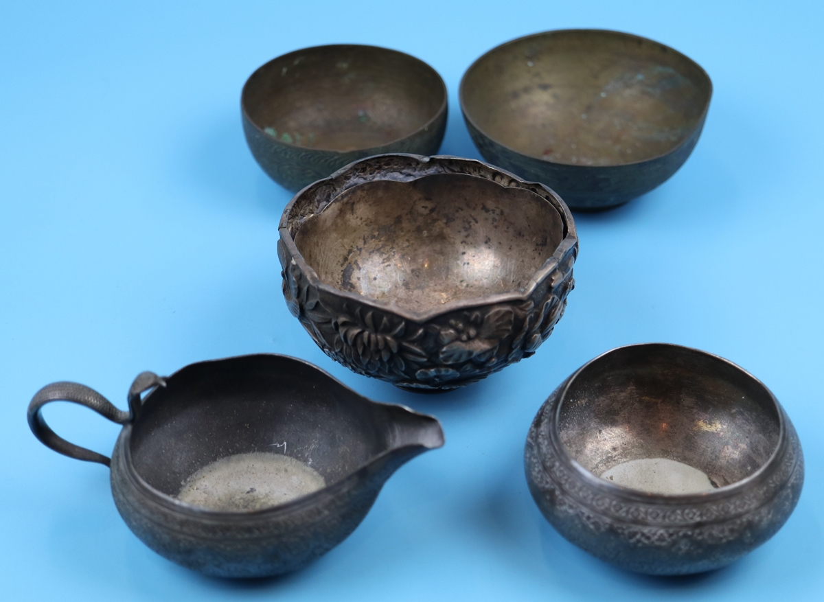 Collection of bowls to include Eastern silver