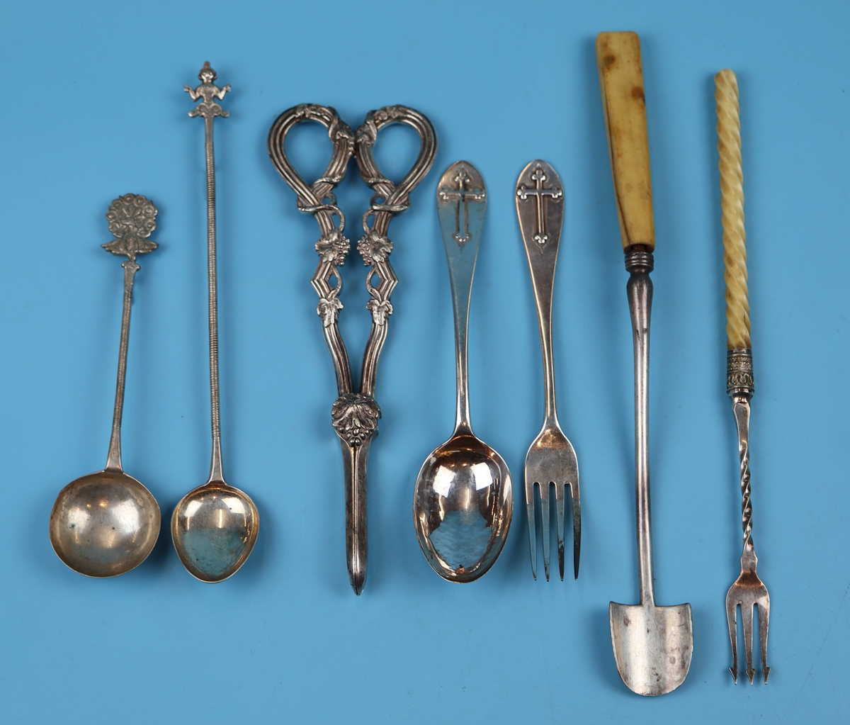 Collection of white metal & silver to include early Victorian spoon and fork