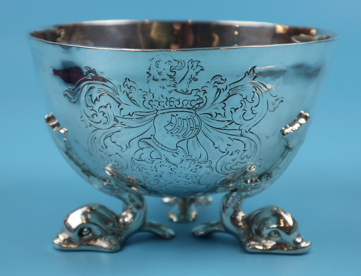 Hallmarked silver bowl on dolphin feet - Berthold Muller, Chester 1904 - Approx weight: 261g - Image 2 of 11