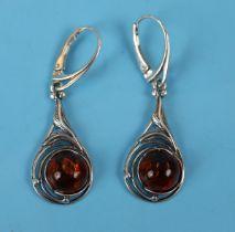 Pair of silver & amber drop earrings
