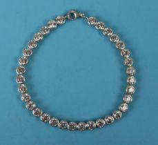 Silver stone set tennis bracelet