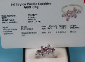 White gold pink sapphire & diamond ring with CAO