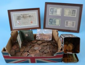 Box of coins and framed bank notes