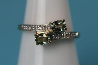 Gold peridot & diamond ring