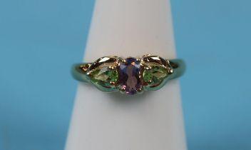 Gold amethyst & peridot ring