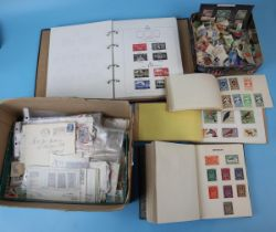 Stamps - GB album, all World airmail album, all World stamps in packets etc