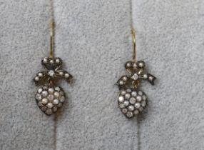 Pair of seed pearl & diamond heart shaped earrings