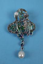 Silver & enamel pearl set pendant brooch
