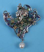 Art Deco style silver & enamel brooch