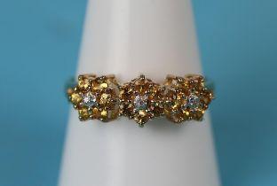 Gold yellow sapphire & diamond ring