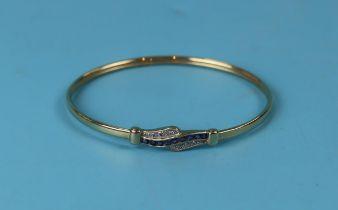 Gold sapphire & diamond bangle