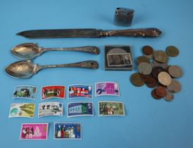 Collection of coins and stamps etc