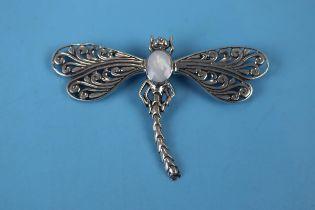 Silver stone set dragonfly brooch