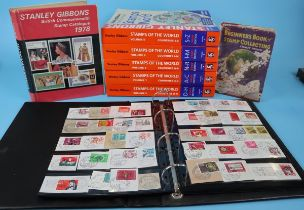 Stamps - Collection of stamp catalogues and folder of stamps