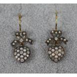 Pair of pearl & diamond heart drop earrings