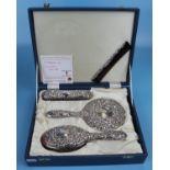 Cased hallmarked silver dressing table set - WI Broadway & Co, Birmingham 1985/86