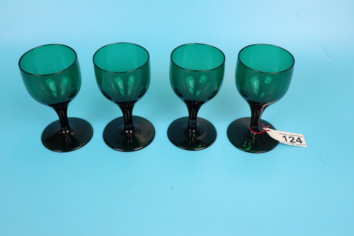 4 Regency green tulip shaped wine glasses