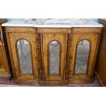 Antique burr walnut credenza with mirrored doors - W: 122cm D: 38cm H:86cm
