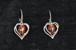 Pair of silver & amber earrings