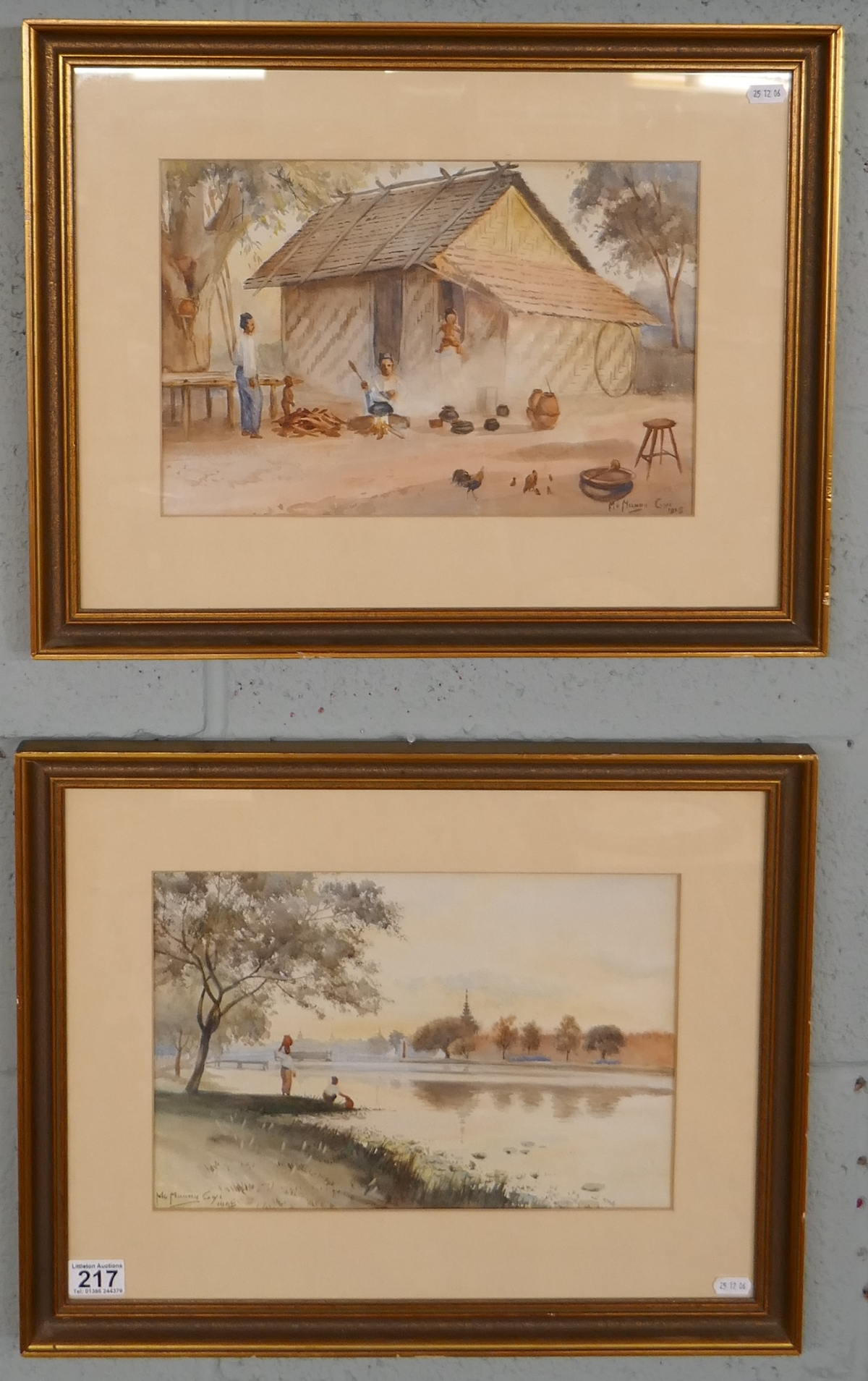 Pair of antique watercolours by Burmese artist Maung Maung Gyl