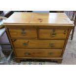 Antique pine chest of 2 over 2 drawers