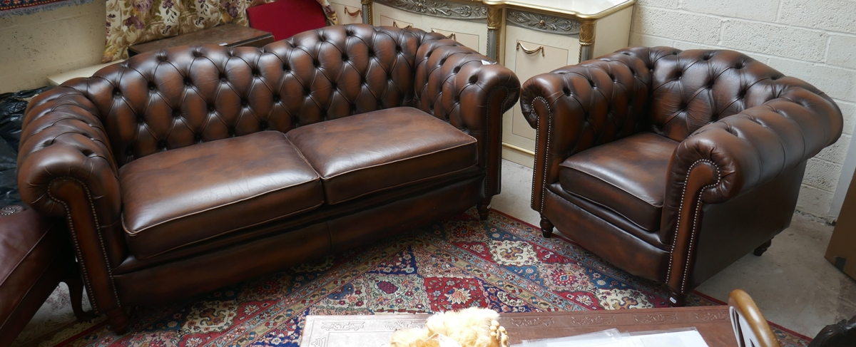 Brown leather Chesterfield 2 piece suite