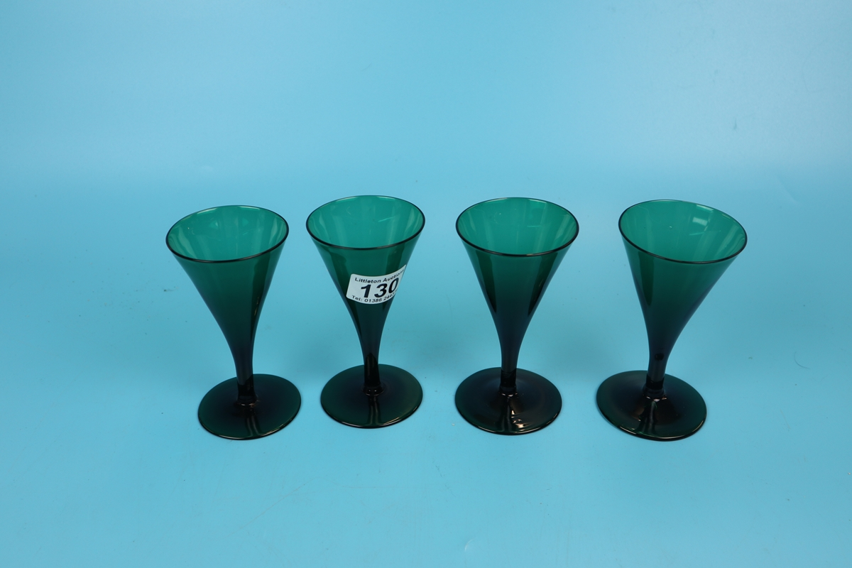 Set of 4 early green glass fluted wine glasses