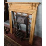 Victorian cast fire place with pine surround