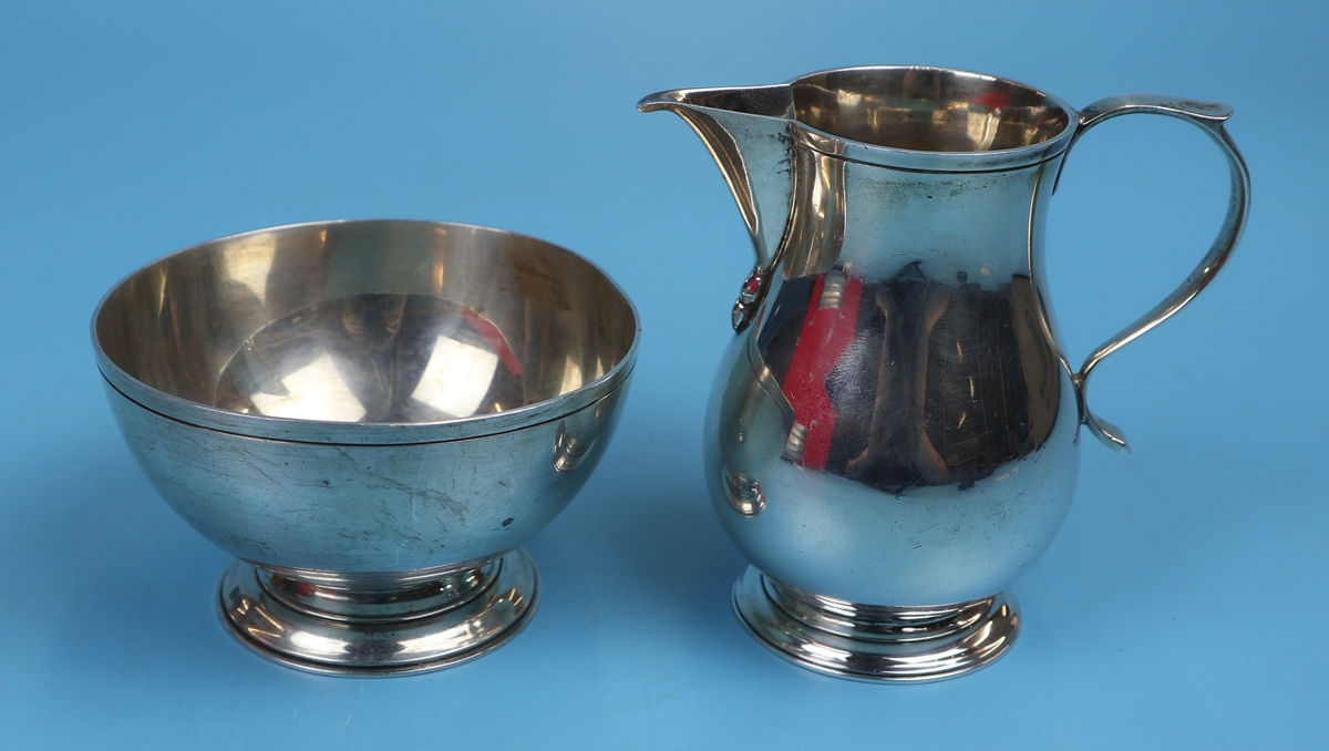 Hallmarked silver sugar bowl & cream jug - Birmingham - JBC & Sons Ltd - Approx weight 157g