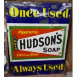 Large and rare Hudson Soap enamel sign - Approx 108cm x 81cm