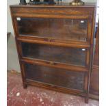 Oak 3 tier globe Wernicke style bookcase