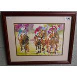 Horse racing watercolour
