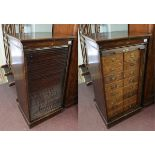 Oak tambour front bank of 16 drawers - marked HLL - W: 62cm D: 49cm H:116cm