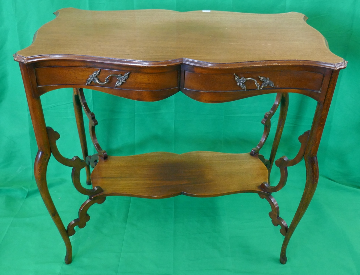 Pretty Art Nouveau mahogany writing table