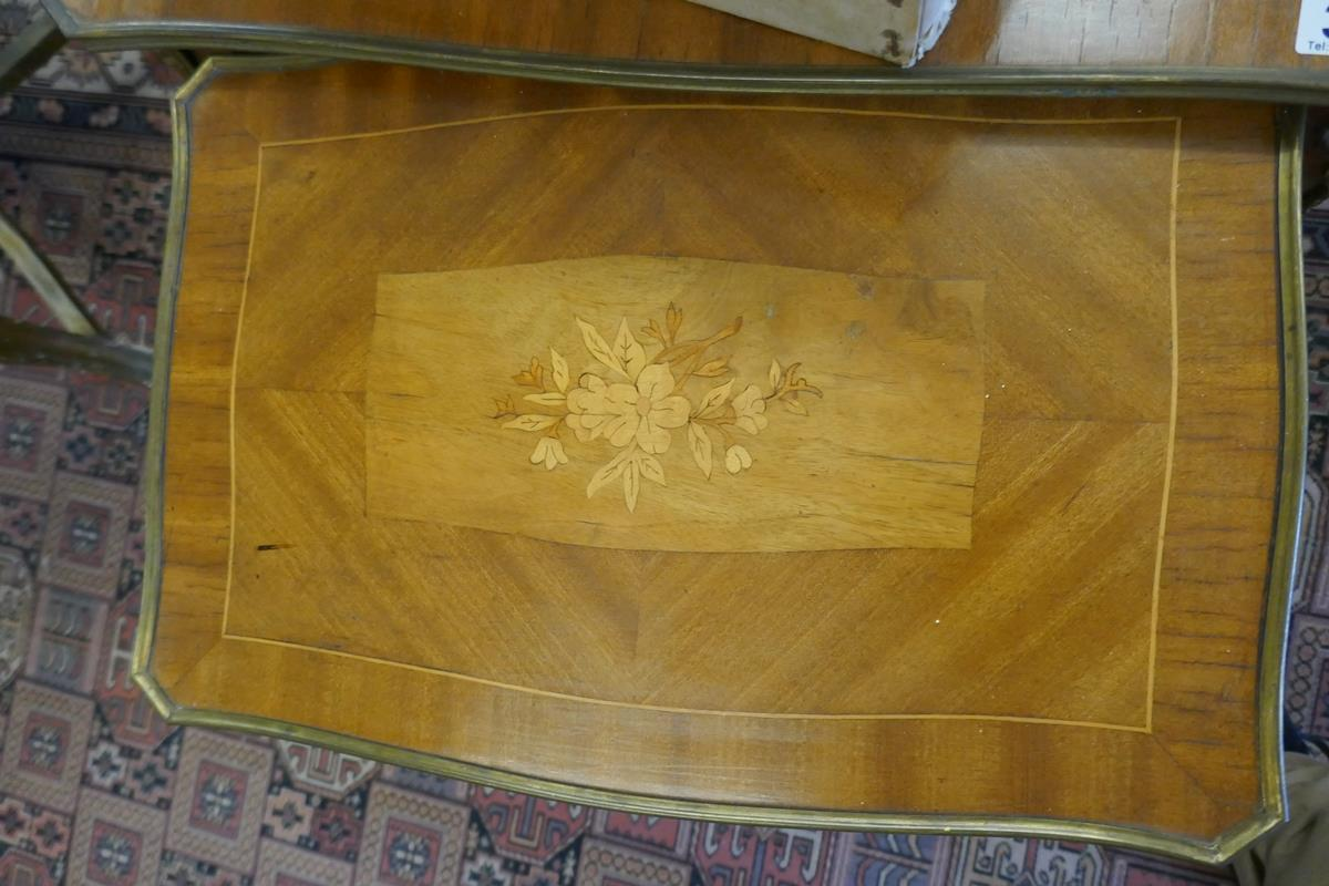 Nest of 2 French inlaid tables with Ormolu mounts - Image 2 of 4