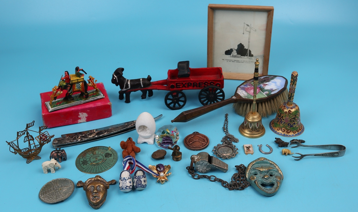 Collection of curios to include cast iron ram pulling trailer